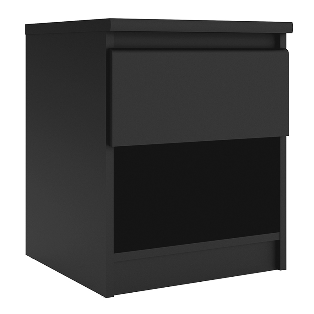 Saian Matt Bedside - 1 Drawer 1 Shelf in Black