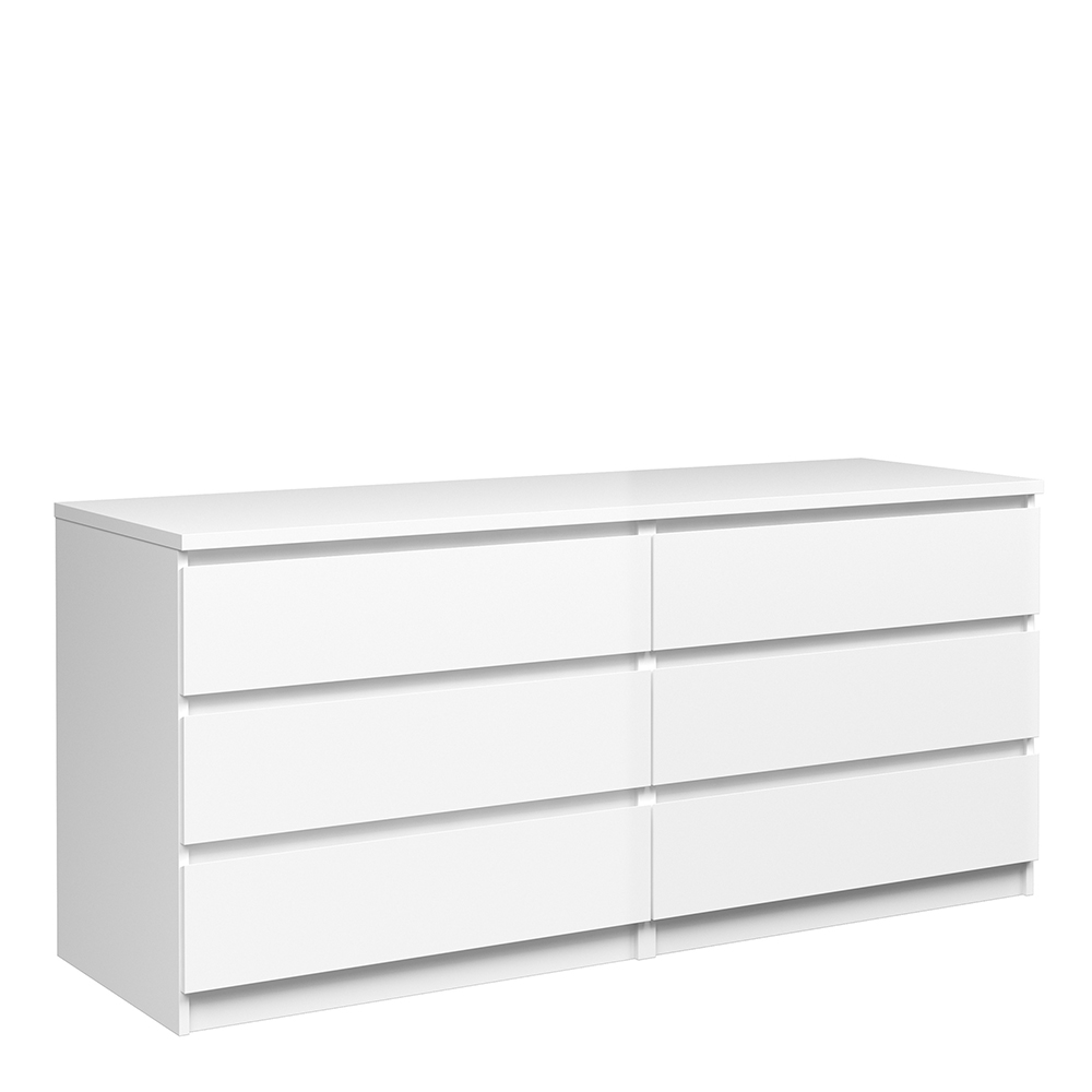 Wide Chest of 6 Drawers (3+3) in White High Gloss