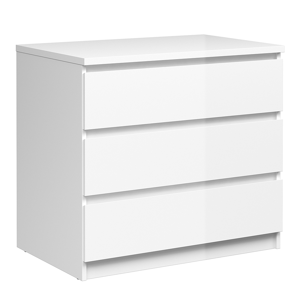 Chest of 3 Drawers in White High Gloss