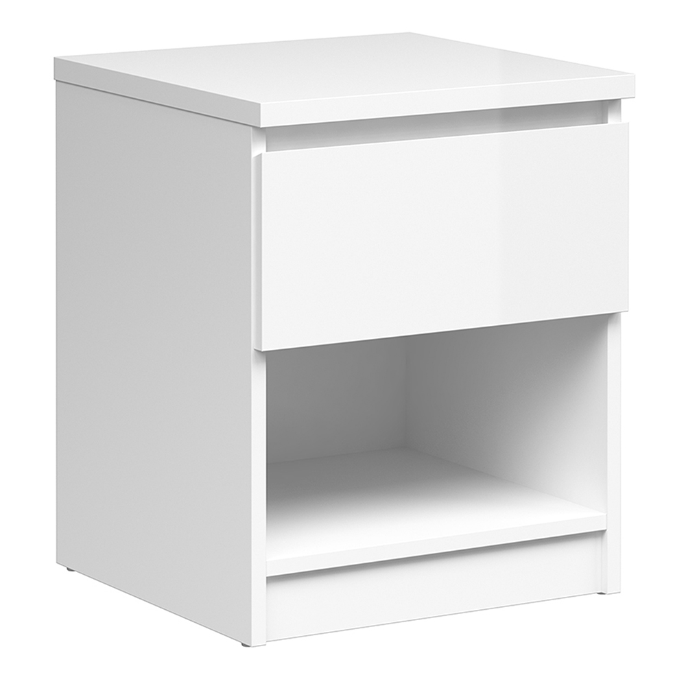 Bedside - 1 Drawer 1 Shelf in White High Gloss