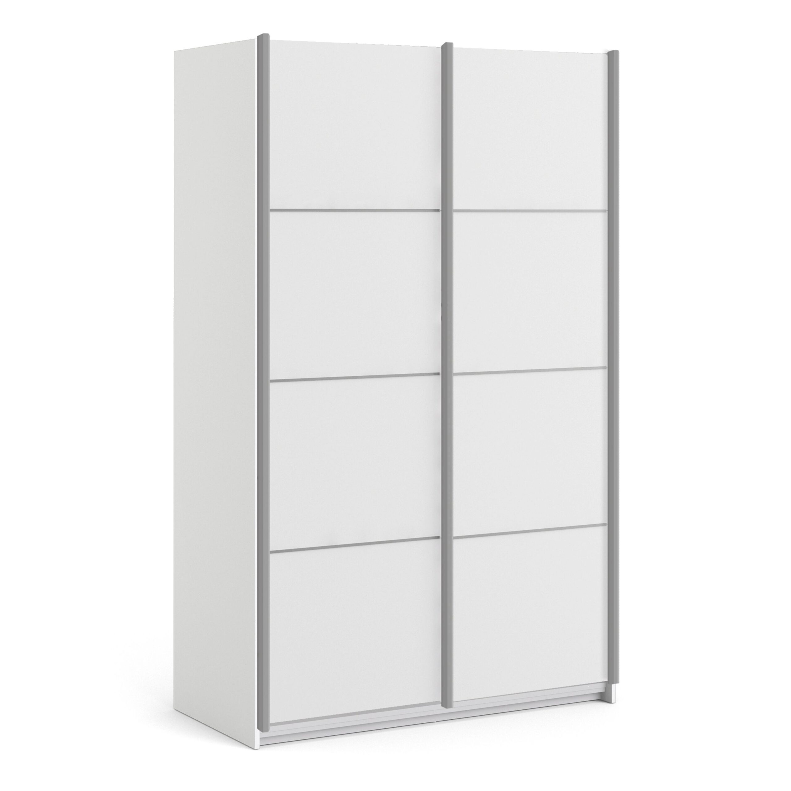 Phillipe Sliding Wardrobe 120cm in White with White Doors with 2 Shelves
