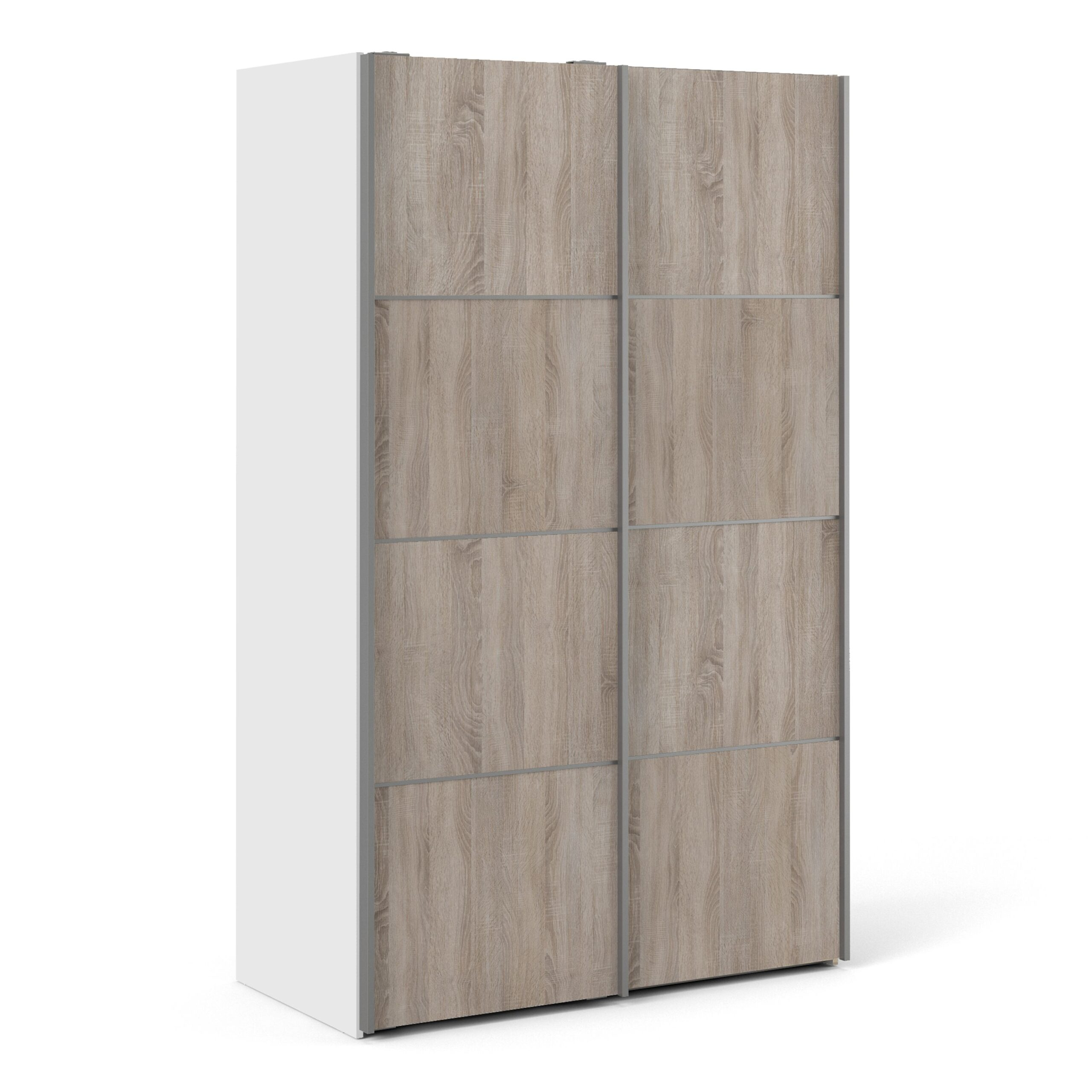 Phillipe Sliding Wardrobe 120cm in White with Truffle Oak Doors with 2 Shelves