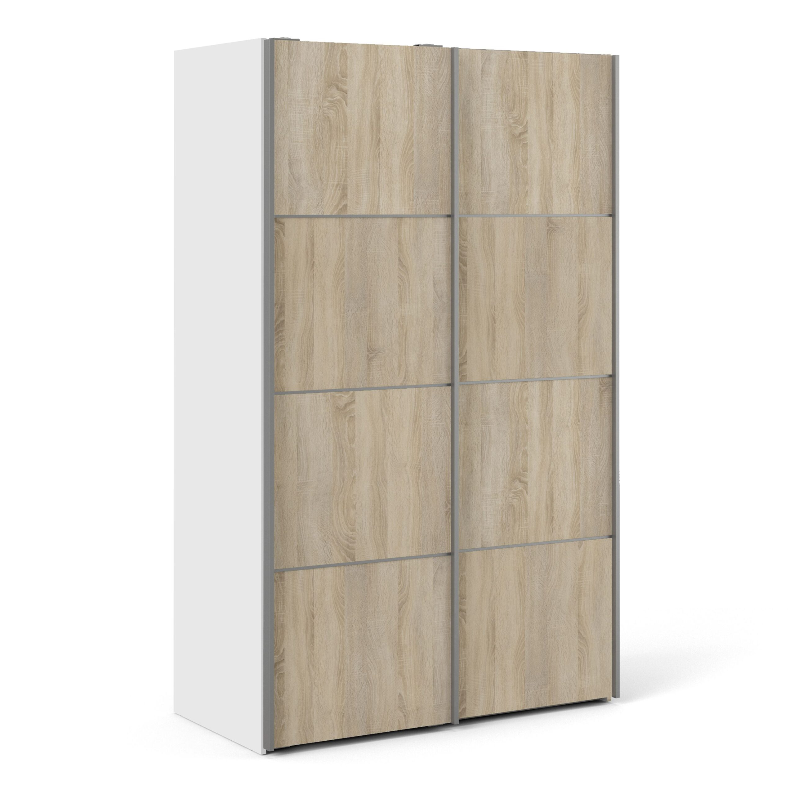 Phillipe Sliding Wardrobe 120cm in White with Oak Doors with 5 Shelves