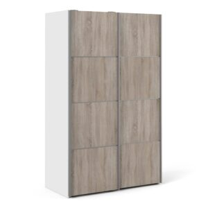 Phillipe Sliding Wardrobe 120cm in White with Truffle Oak Doors with 5 Shelves