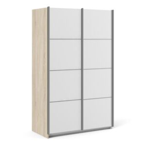 Phillipe Sliding Wardrobe 120cm in Oak with White Doors with 2 Shelves