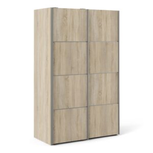 Phillipe Sliding Wardrobe 120cm in Oak with Oak Doors with 2 Shelves