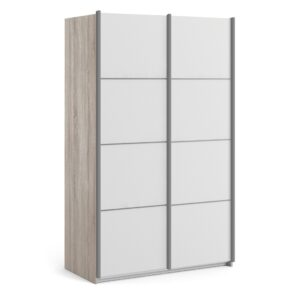 Phillipe Sliding Wardrobe 120cm in Truffle Oak with White Doors with 2 Shelves