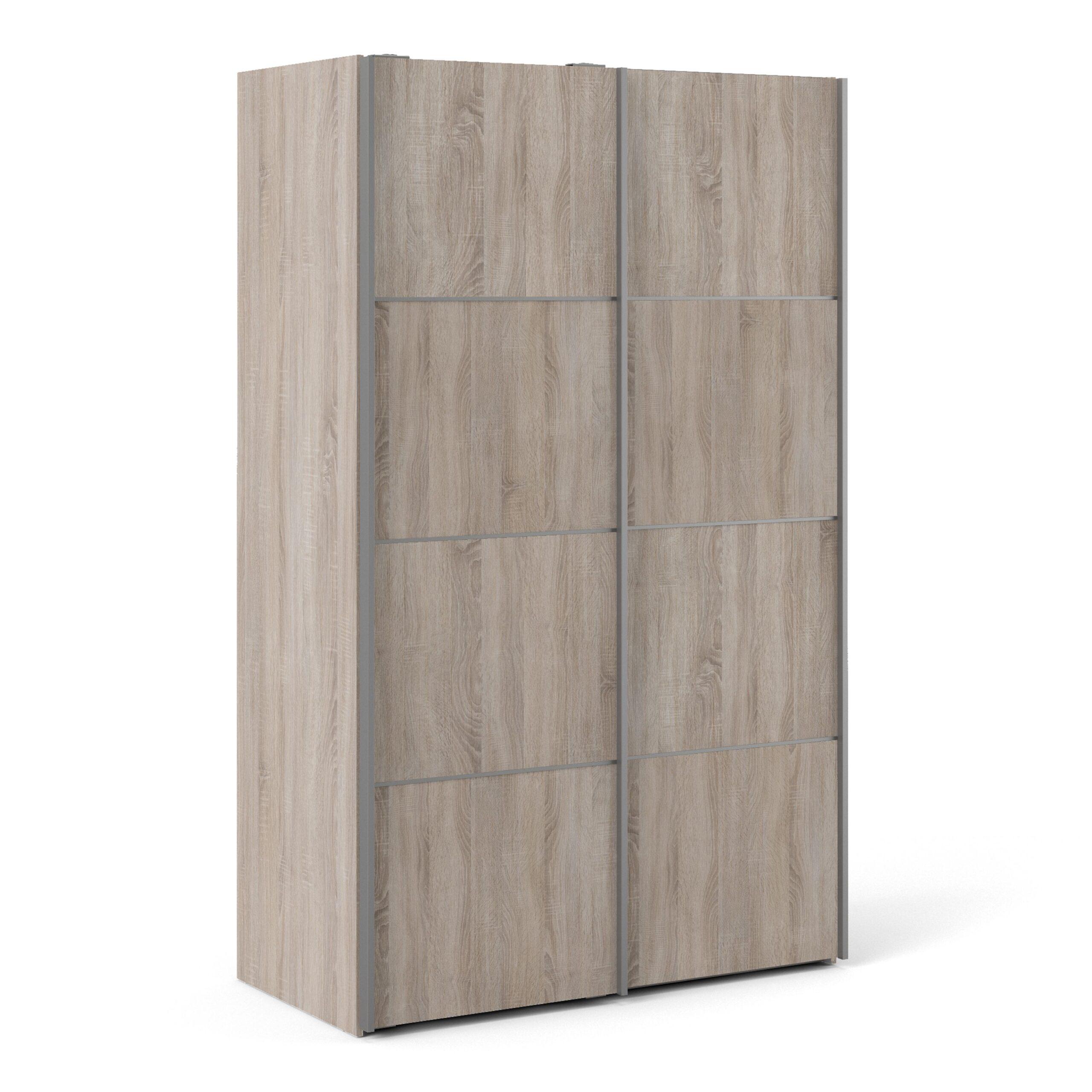 Phillipe Sliding Wardrobe 120cm in Truffle Oak with Truffle Oak Doors with 2 Shelves