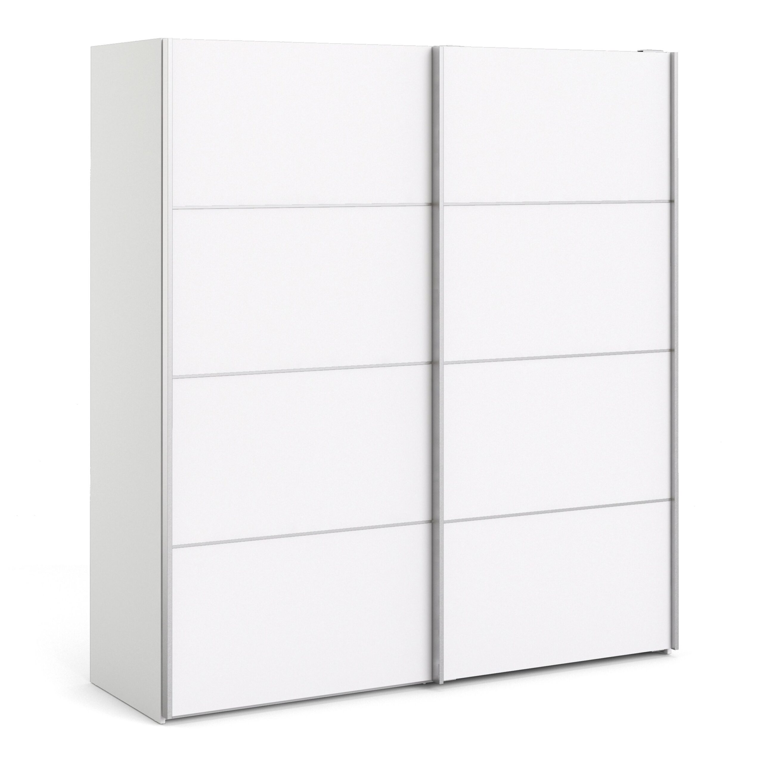 Phillipe Sliding Wardrobe 180cm in White with White Doors with 2 Shelves