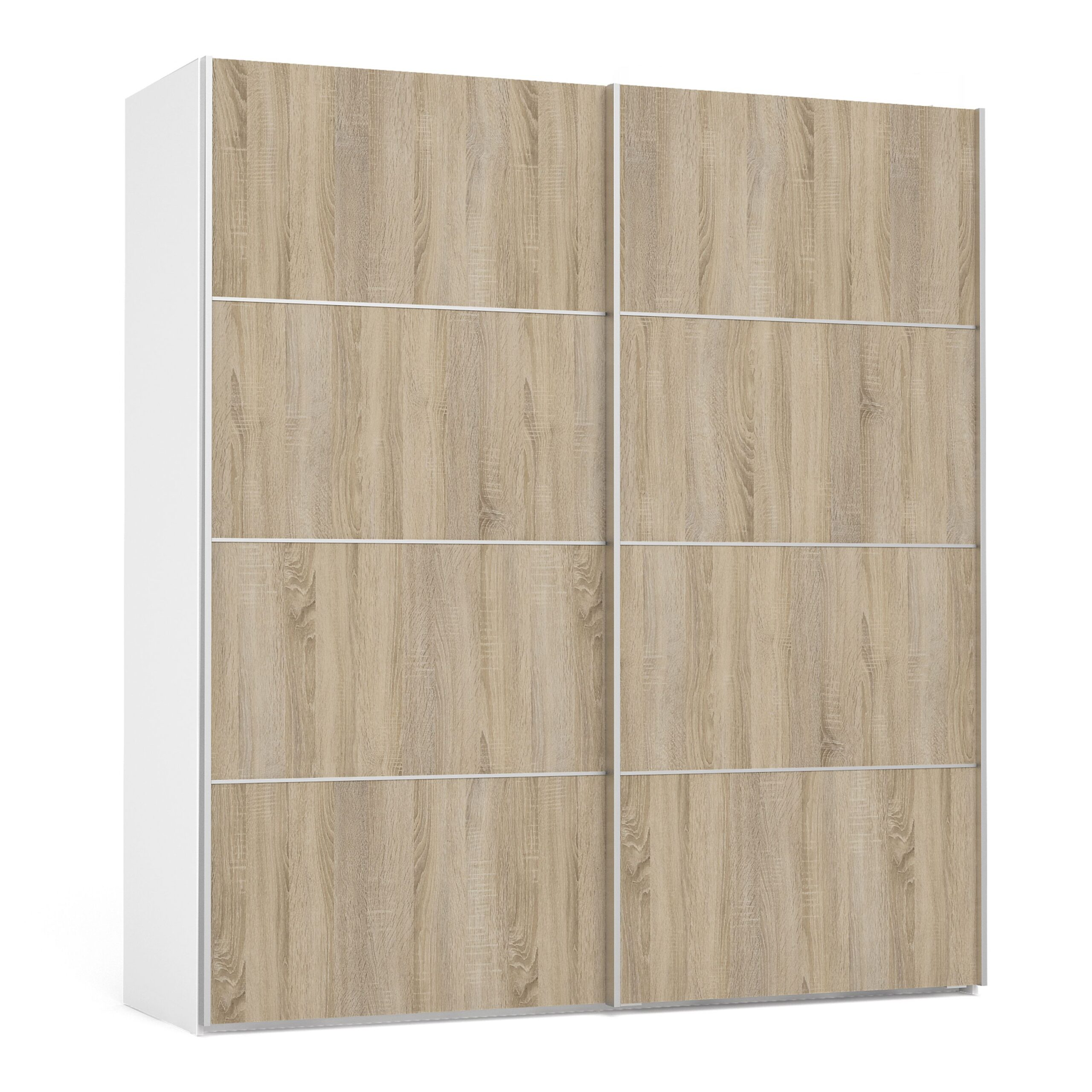 Phillipe Sliding Wardrobe 180cm in White with Oak Doors with 2 Shelves