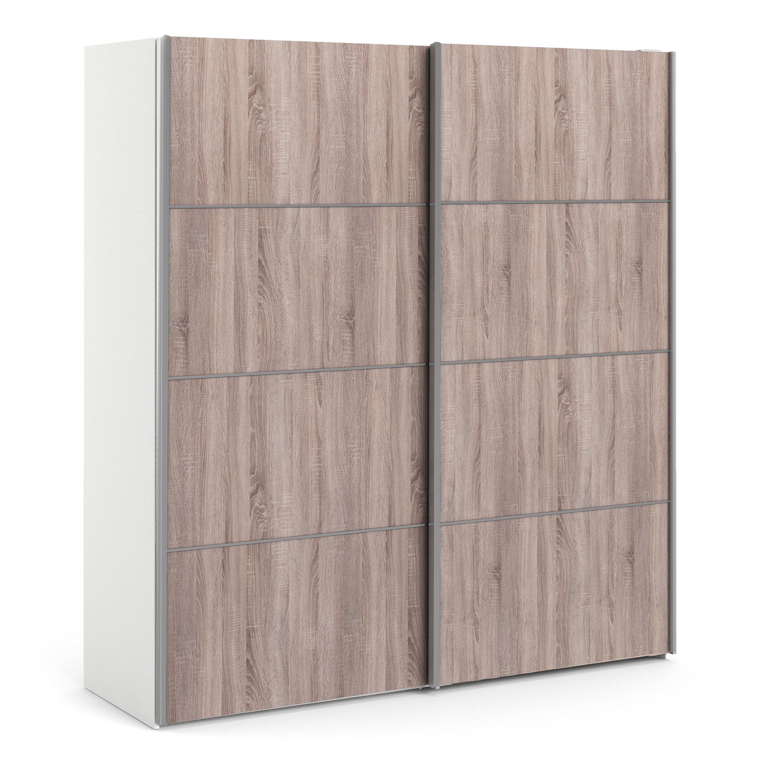 Phillipe Sliding Wardrobe 180cm in White with Truffle Oak Doors with 2 Shelves