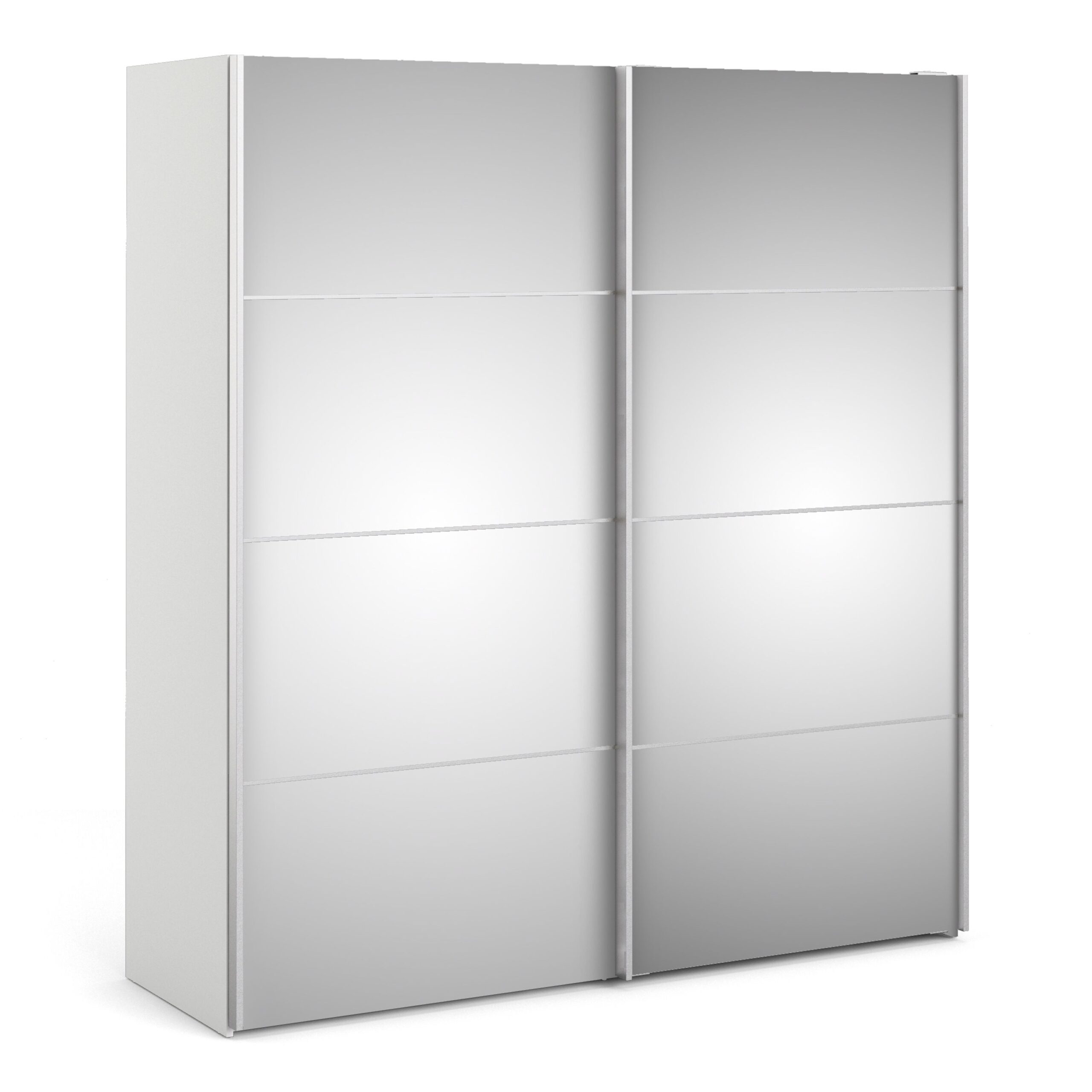 Phillipe Sliding Wardrobe 180cm in White with Mirror Doors with 2 Shelves
