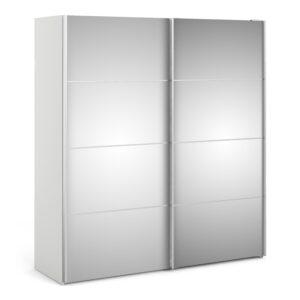 Phillipe Sliding Wardrobe 180cm in White with Mirror Doors with 5 Shelves