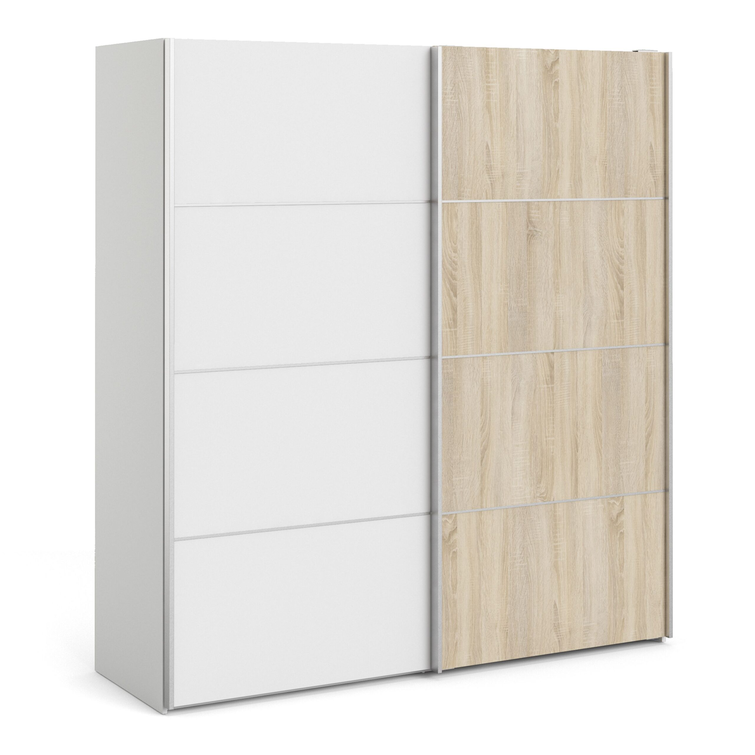 Phillipe Sliding Wardrobe 180cm in White with White and Oak doors with 2 Shelves