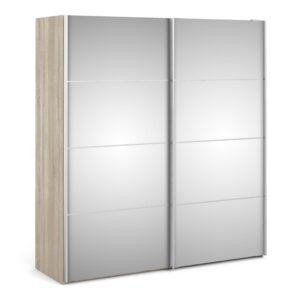 Phillipe Sliding Wardrobe 180cm in Oak with Mirror Doors with 5 Shelves