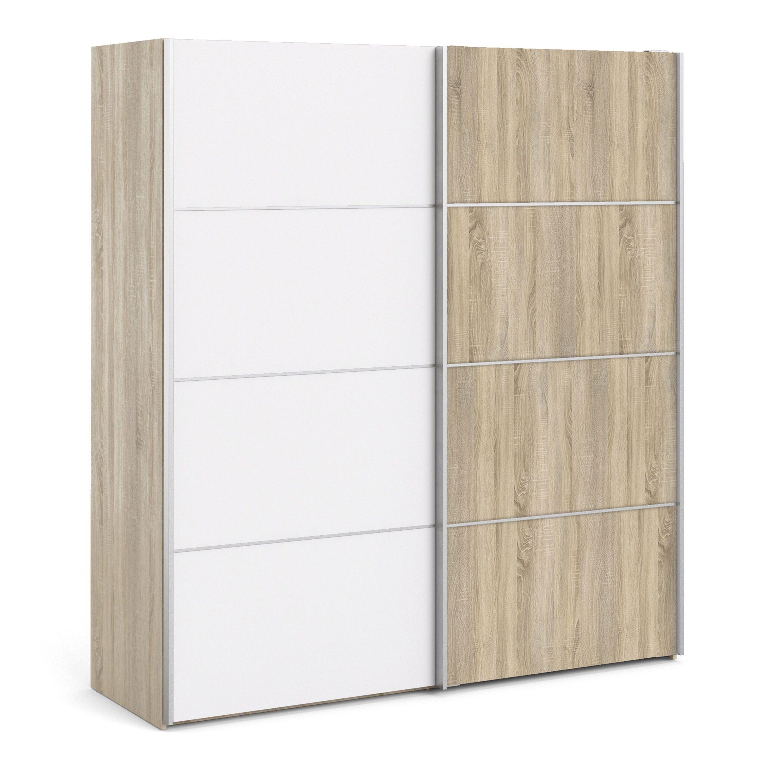 Phillipe Sliding Wardrobe 180cm in Oak with White and Oak doors with 5 Shelves