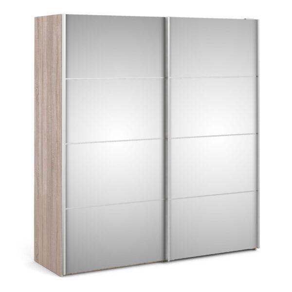 Phillipe Sliding Wardrobe 180cm in Truffle Oak with Mirror Doors with 5 Shelves