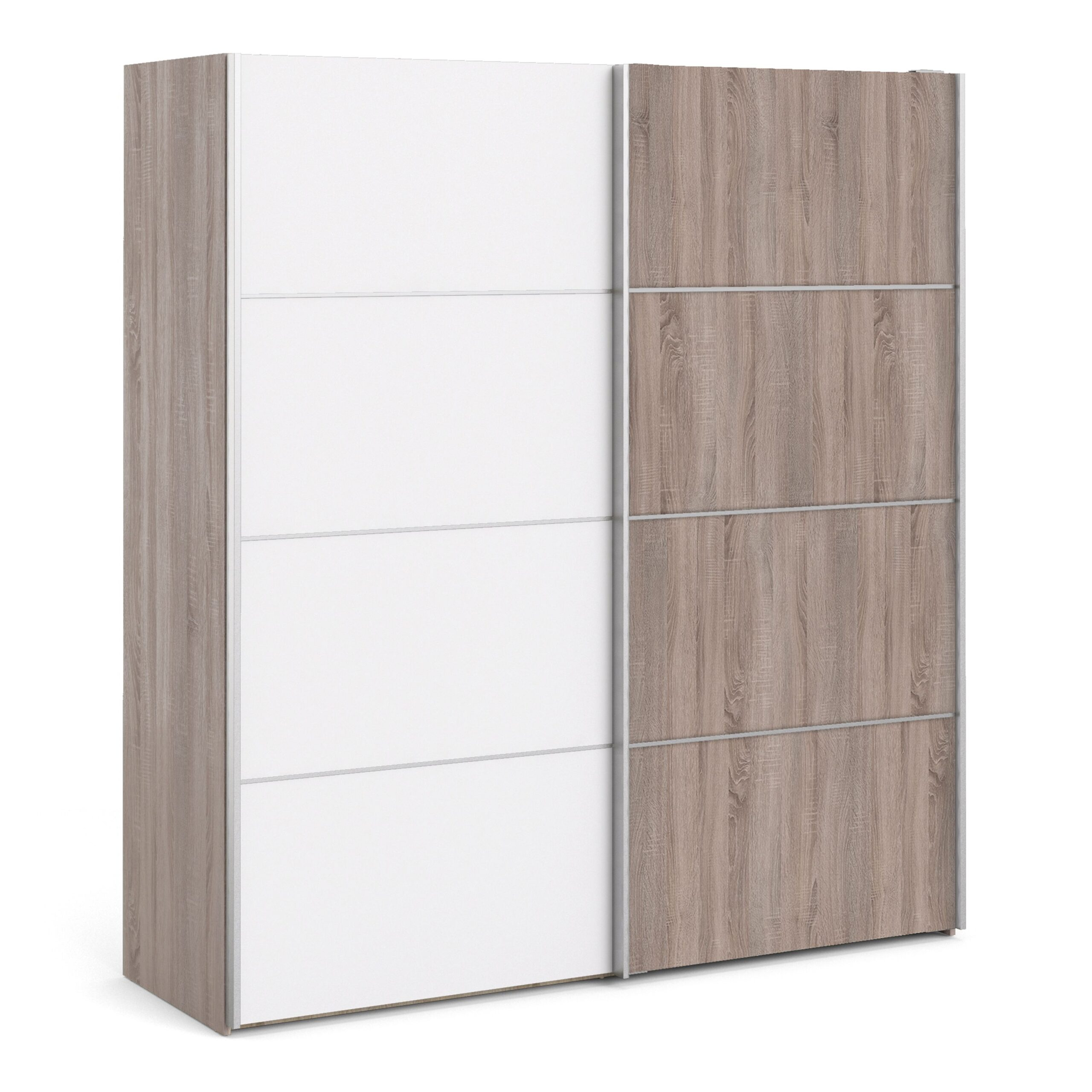 Phillipe Sliding Wardrobe 180cm in Truffle Oak with White and Truffle Oak doors with 5 Shelves