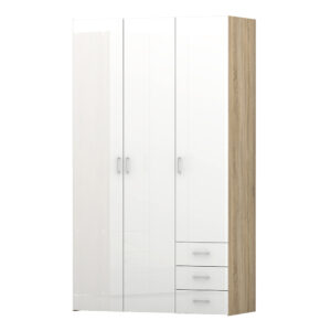 Wardrobe - 3 Doors 3 Drawers in Oak with White High Gloss