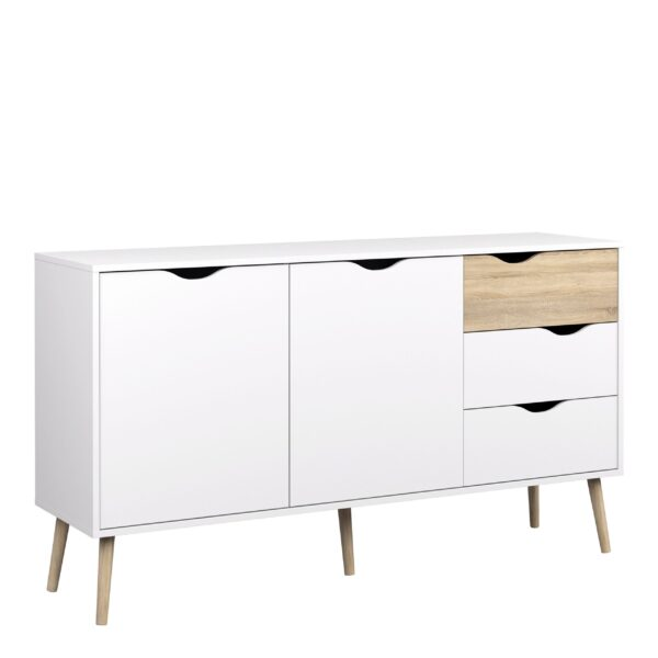 Solo Sideboard - Large - 3 Drawers 2 Doors in White and Oak