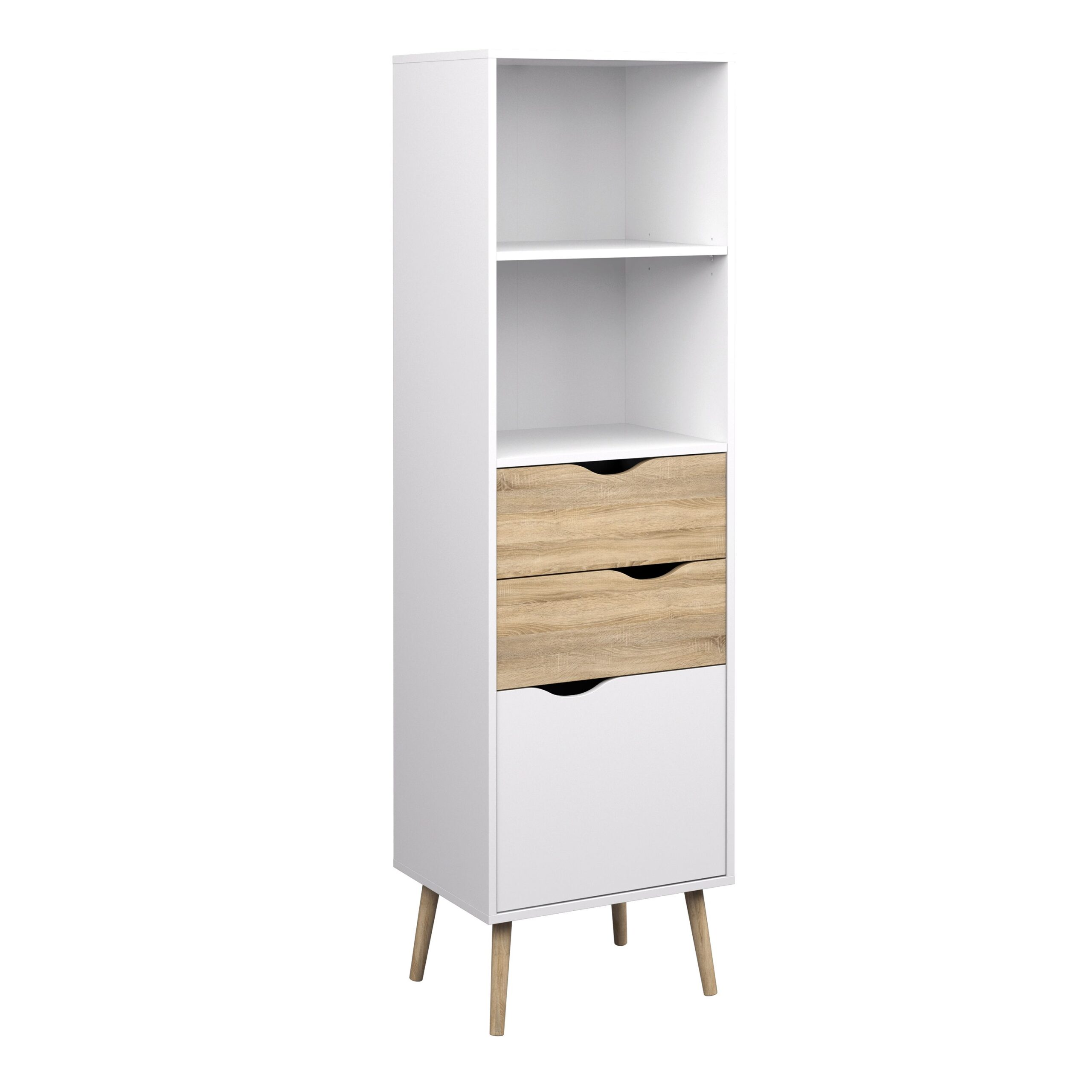 Solo Bookcase 2 Drawers 1 Door in White and Oak
