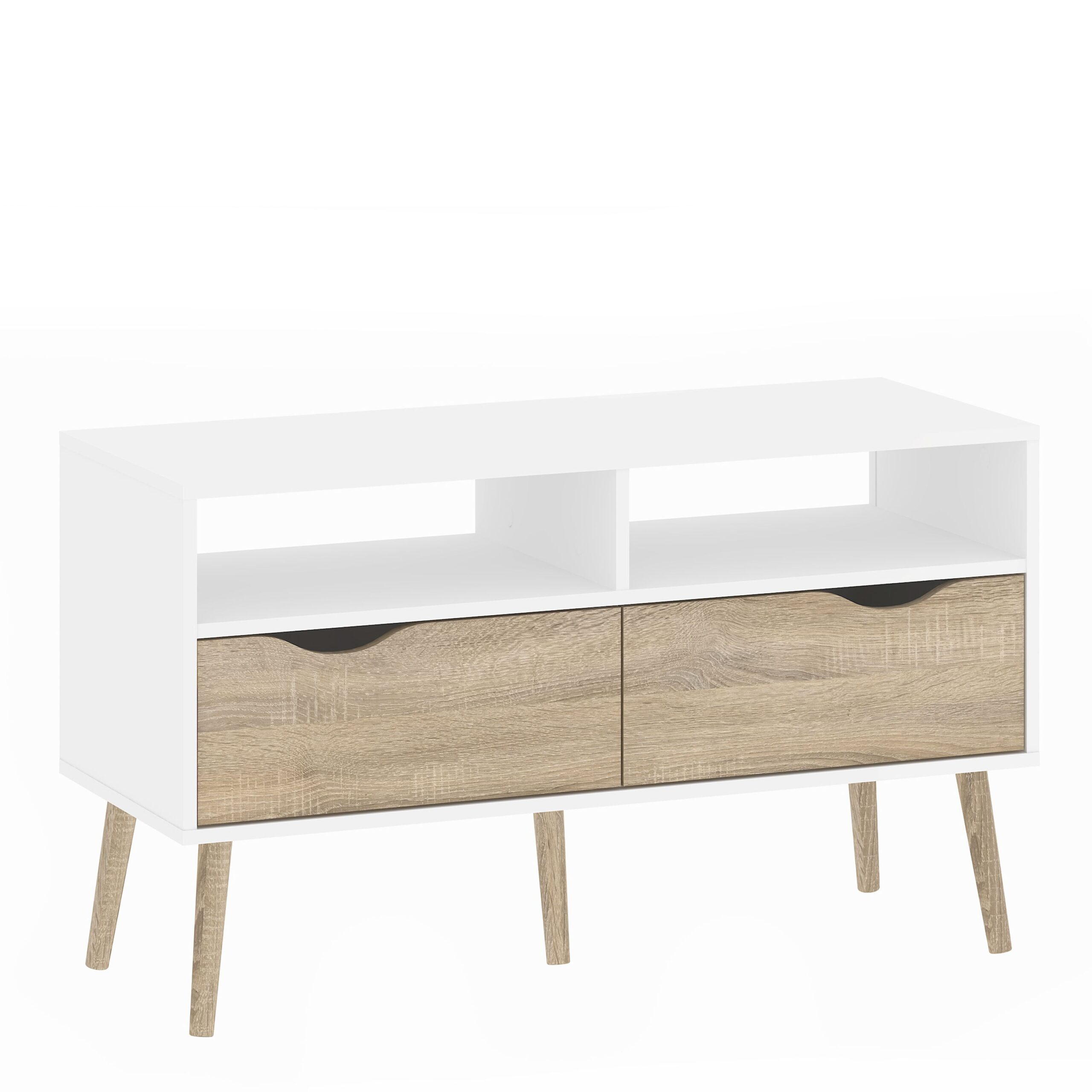 Solo TV Units 2 Drawers in White and Oak