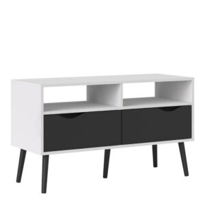 Solo TV Units 2 Drawers in White and Black Matt