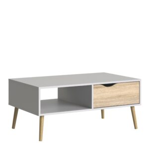 Solo Coffee Table 1 Drawer 1 Shelf in White and Oak