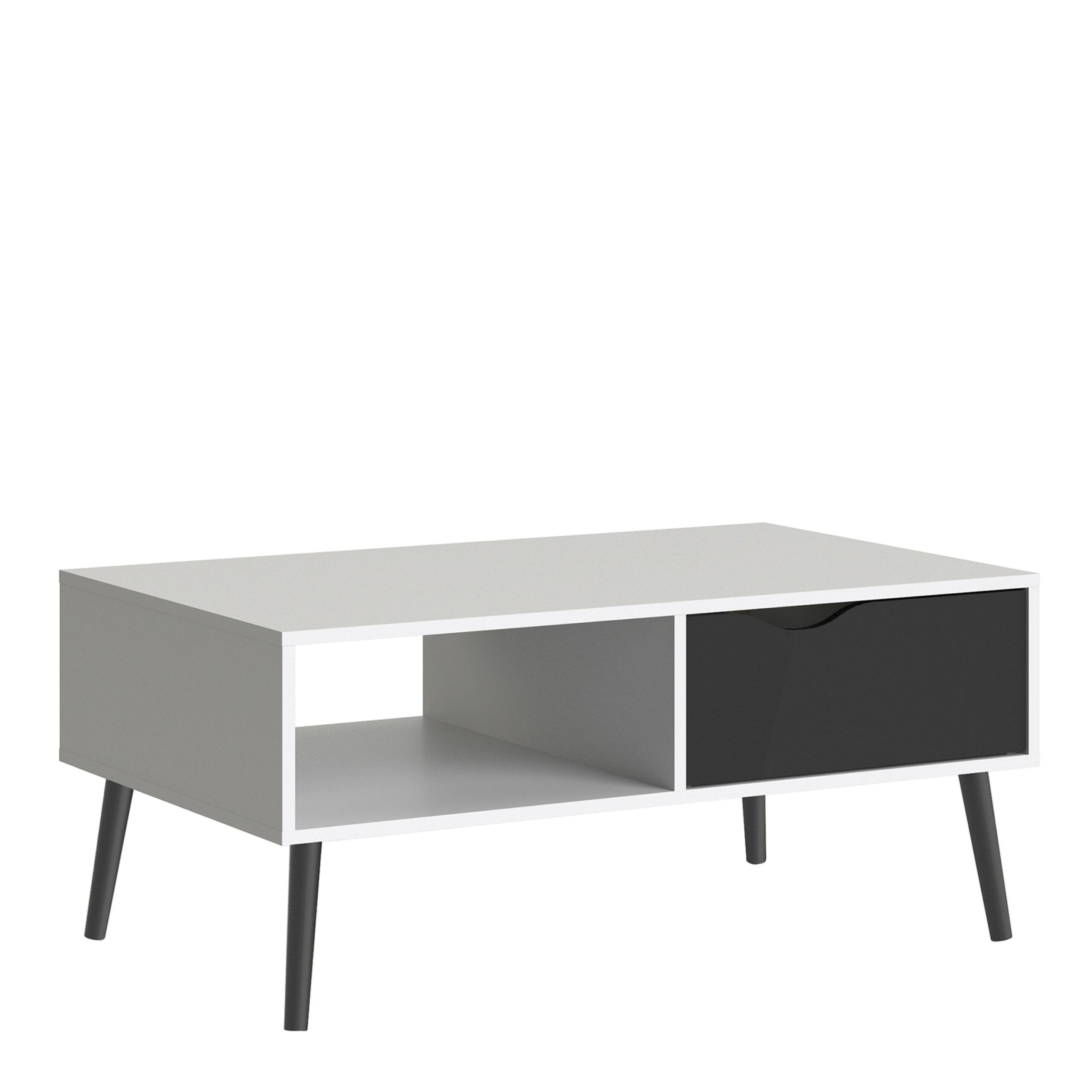 Solo Coffee Table 1 Drawer 1 Shelf in White and Black Matt