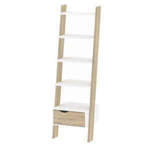 Solo Leaning Bookcase 1 Drawer in White and Oak