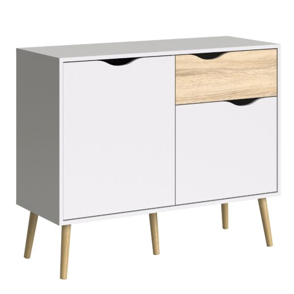 Solo Sideboard - Small - 1 Drawer 2 Doors in White and Oak