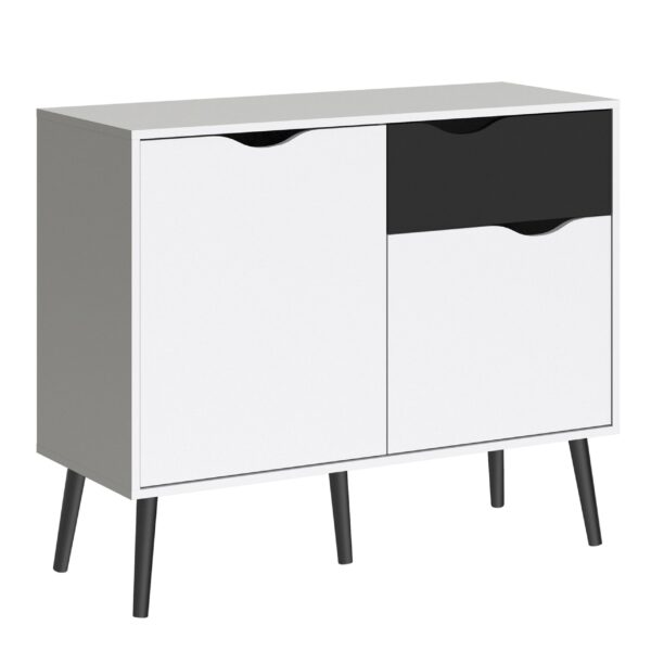 Solo Sideboard - Small - 1 Drawer 2 Doors in White and Black Matt