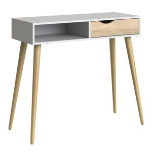 Solo Console Table 1 Drawer 1 Shelf in White and Oak