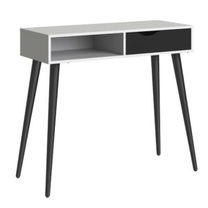 Solo Console Table 1 Drawer 1 Shelf in White and Black Matt