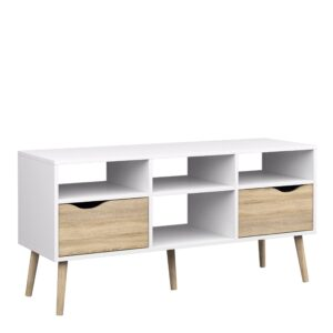 Solo TV Units - Wide - 2 Drawers 4 Shelves in White and Oak