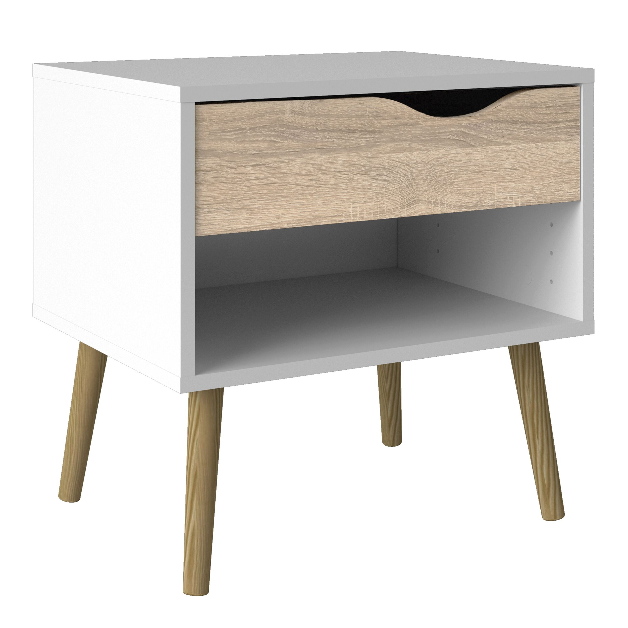Solo Bedside 1 Drawer in White and Oak