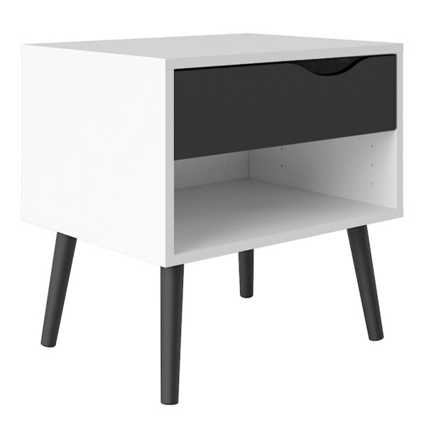 Solo Bedside 1 Drawer in White and Black Matt