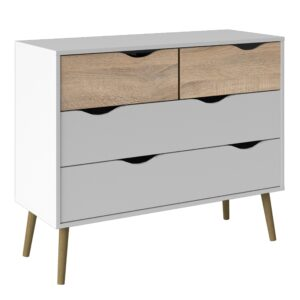 Solo Chest of 4 Drawers (2+2) in White and Oak