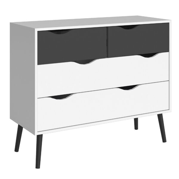 Solo Chest of 4 Drawers (2+2) in White and Black Matt