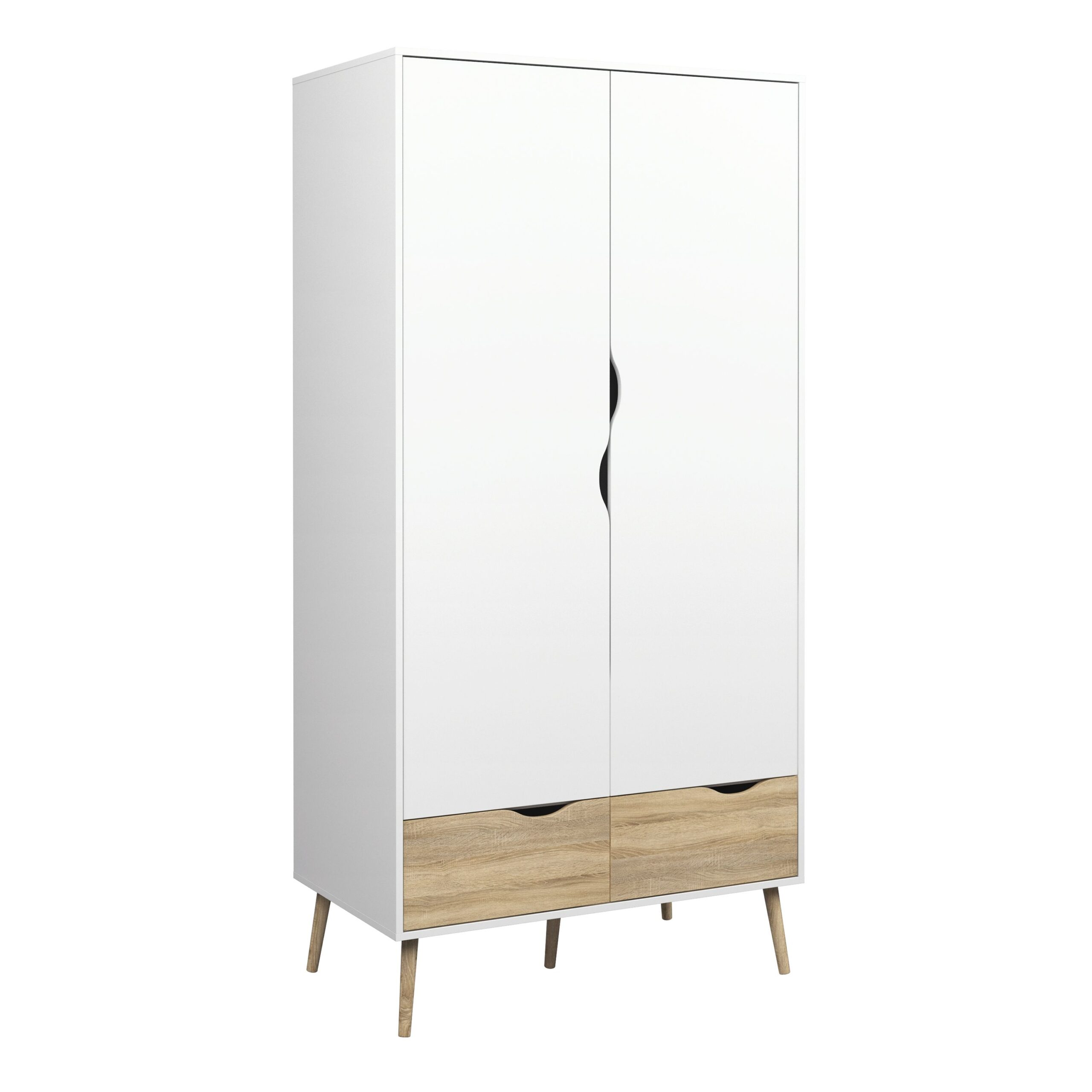 Solo Wardrobe 2 Doors 2 Drawers in White and Oak