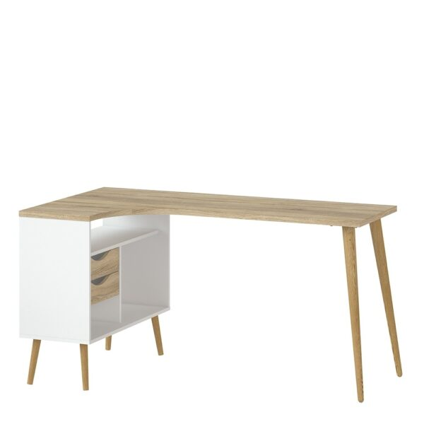 Solo Desk 2 Drawer in White and Oak