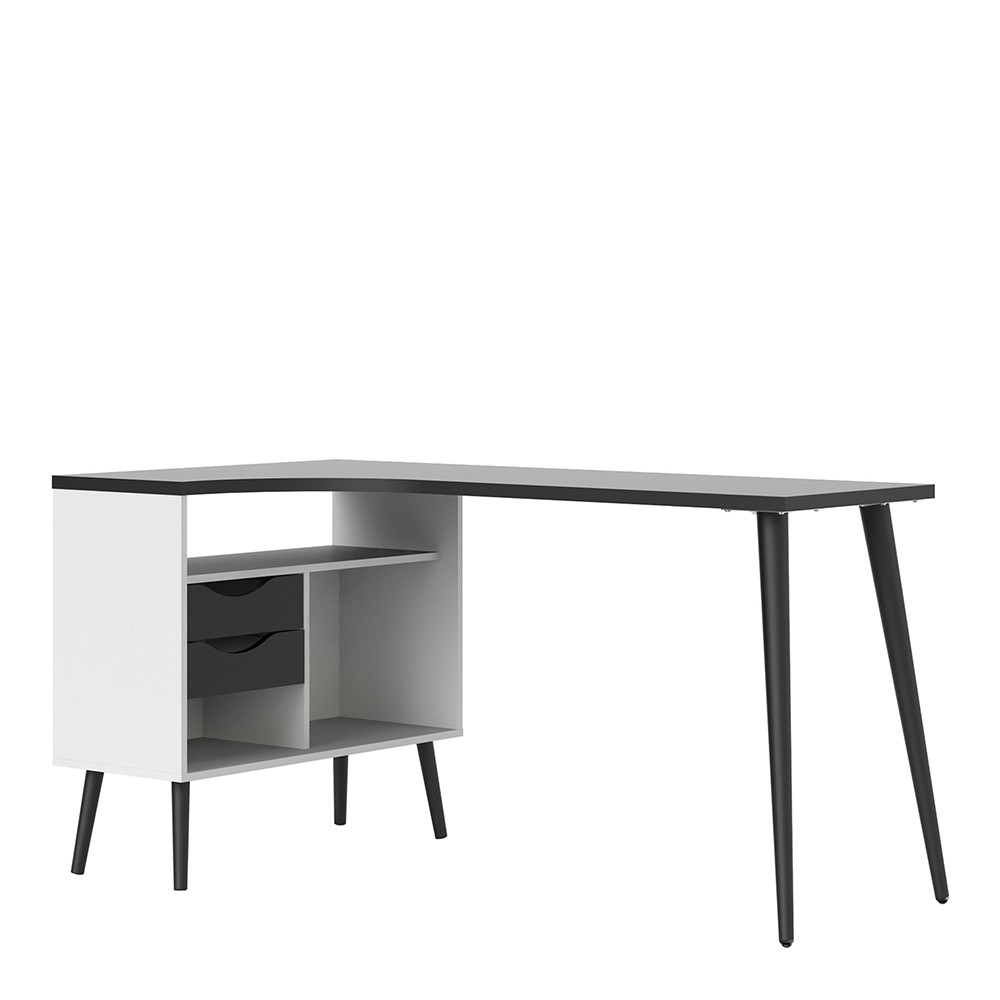 Solo Desk 2 Drawer in White and Black Matt