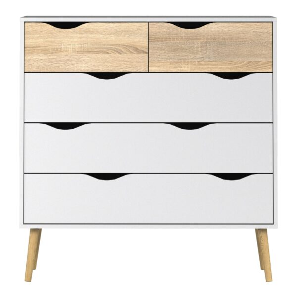Solo Chest of 5 Drawers (2+3) in White and Oak