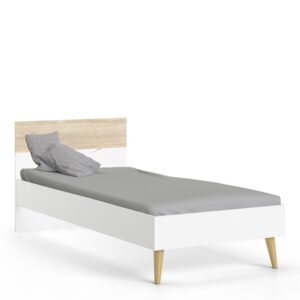 Solo Euro Single Bed (90 x 200) in White and Oak
