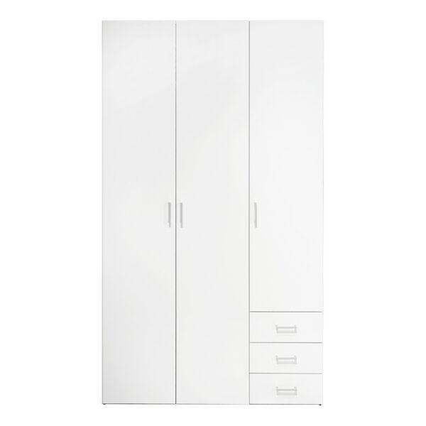 Wardrobe - 3 Doors 3 Drawers in White