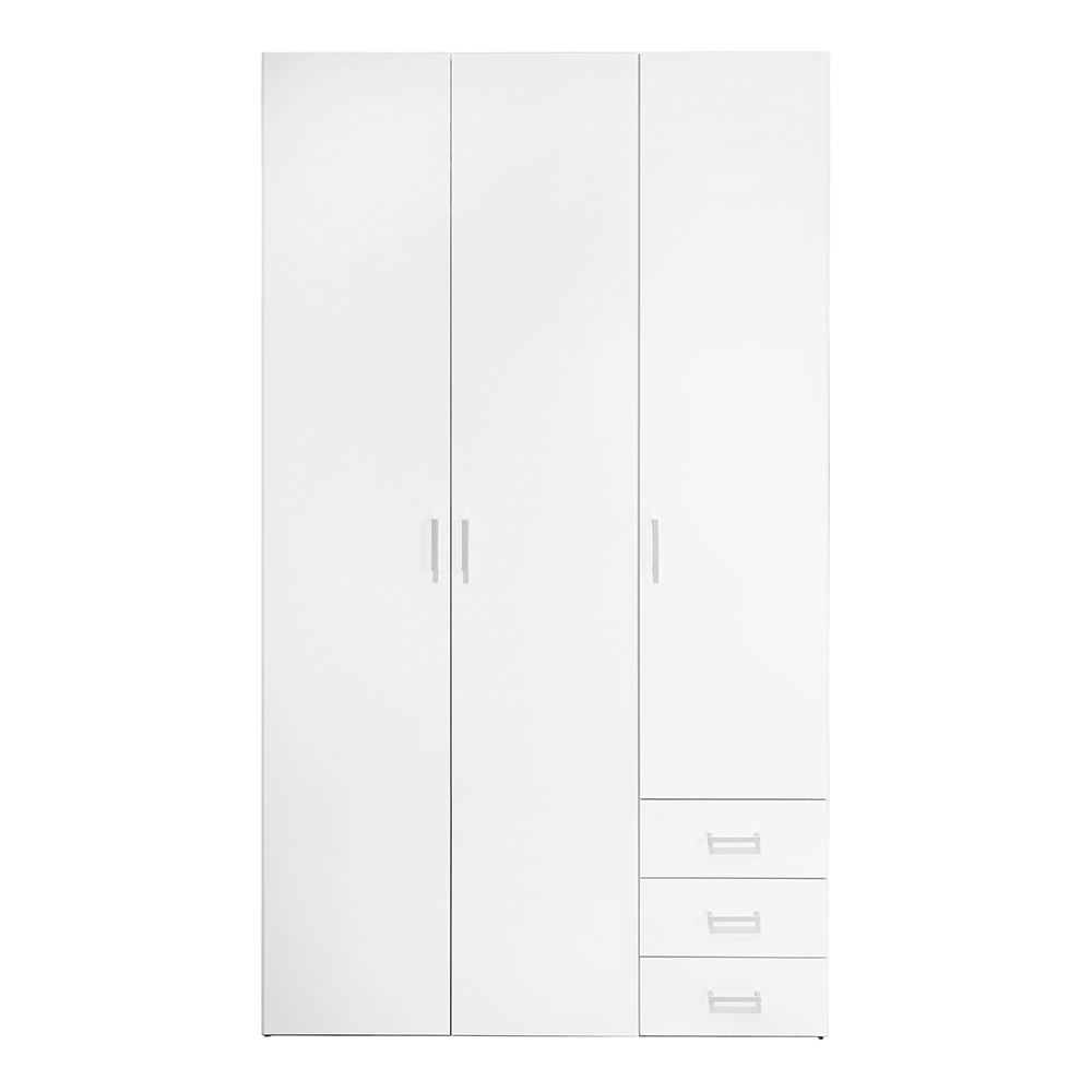 Wardrobe - 3 Doors 3 Drawers in White