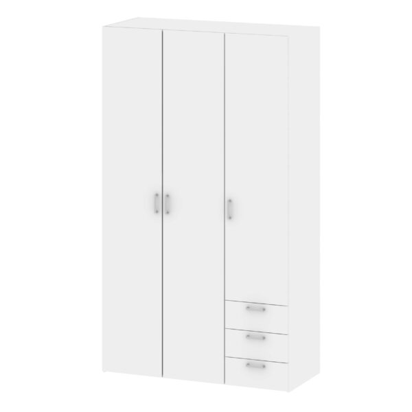 Pluto Wardrobe - 3 Doors 3 Drawers in White