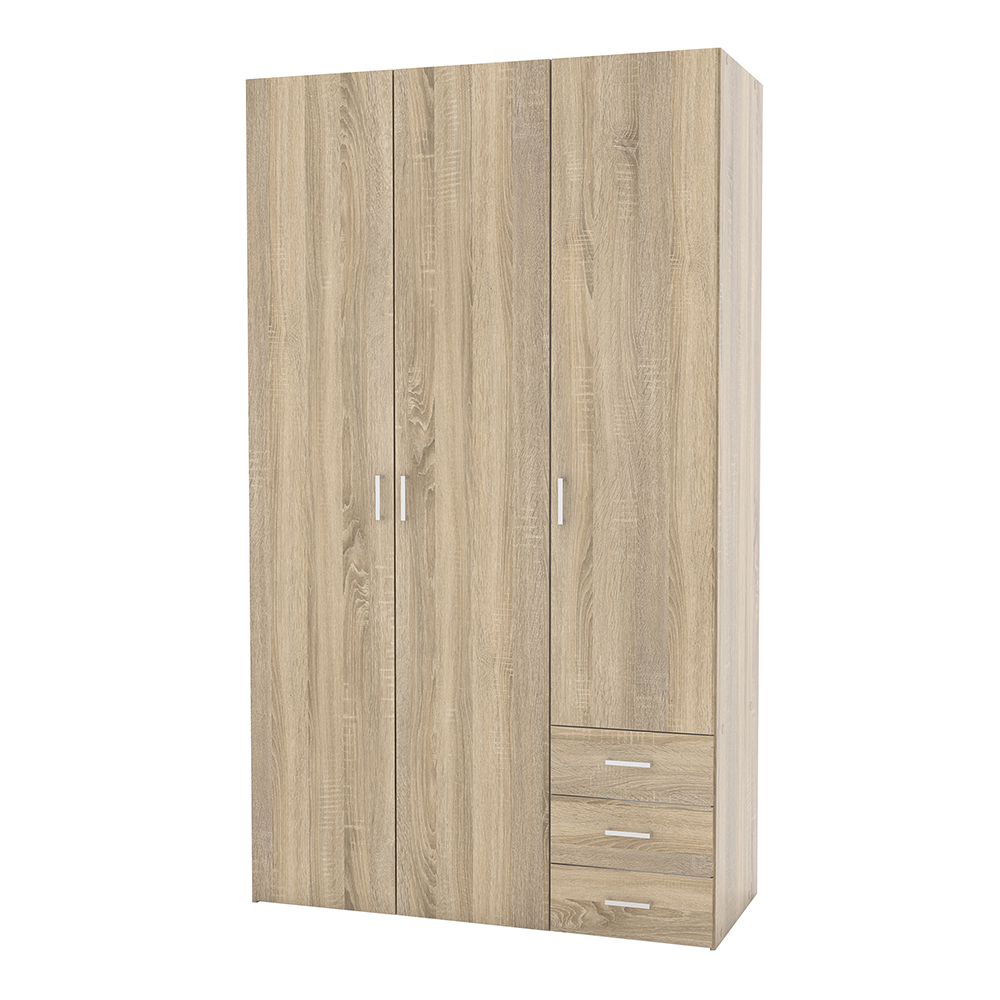 Wardrobe - 3 Doors 3 Drawers in Oak