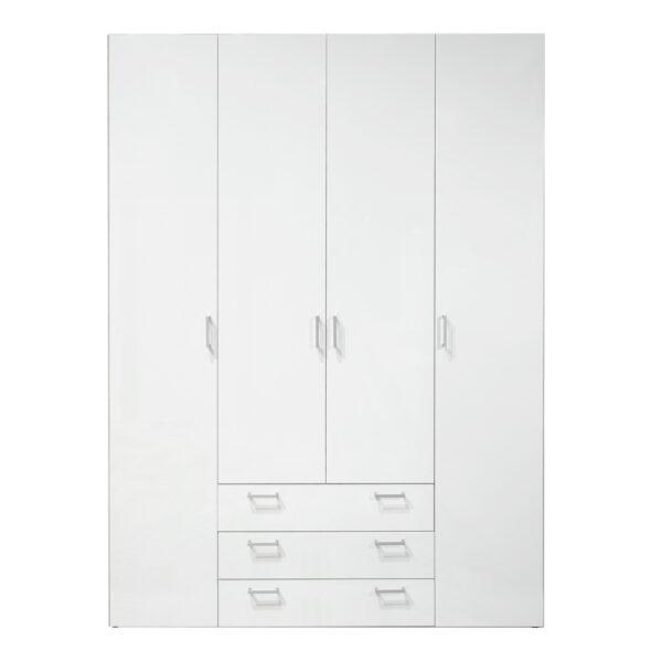 Wardrobe - 4 Doors 3 Drawers in White