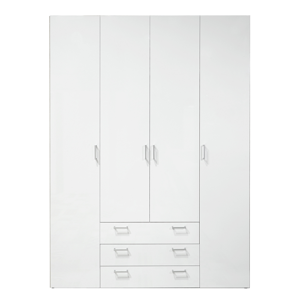 Wardrobe - 4 Doors 3 Drawers in White